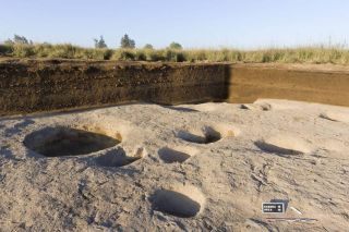 This newly discovered village, discovered on the Nile Delta, dates back almost 7,000 years. The remains of storage silos and the foundations of buildings can be seen in this photo.