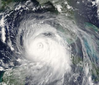 The powerful Hurricane Katrina, a Category-5 storm, is seen here in a satellite image from Aug. 28, 2005.