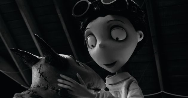 """""""FRANKENWEENIE"""".Victor happily examines his beloved dog Sparky after he successfully brings him back to life in """"Frankenweenie,"""" a new stop-motion, animated comedy from the creative genius of director Tim Burton.  Presented by Walt Disney Pictures, """"Frankenweenie"""" opens in theaters on October 5, 2012..©2011 Disney Enterprises. All Rights Reserved."""