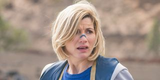Jodie Whittaker as The Doctor looking concerned Doctor Who