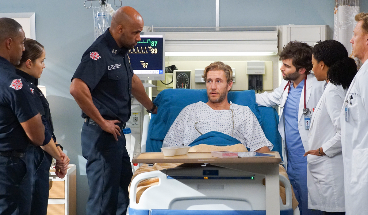 Grey's Anatomy Station 19 crossover Ripley in hospital bed