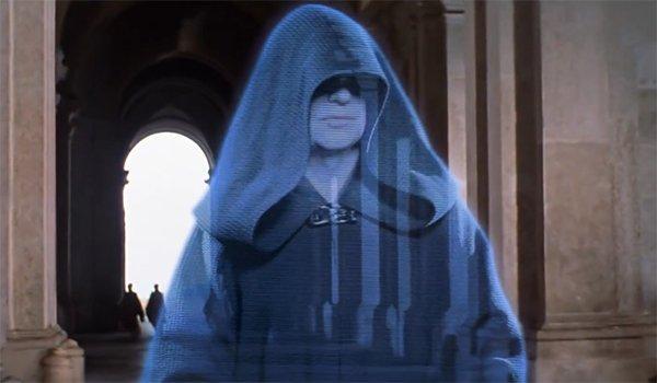Darth Sidious in hologram form in The Phantom Menace