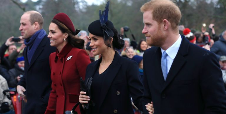 Prince William, Duke of Cambridge, Catherine, Duchess of Cambridge, Meghan, Duchess of Sussex and Prince Harry, Duke of Sussex leave after attending Christmas Day Church service