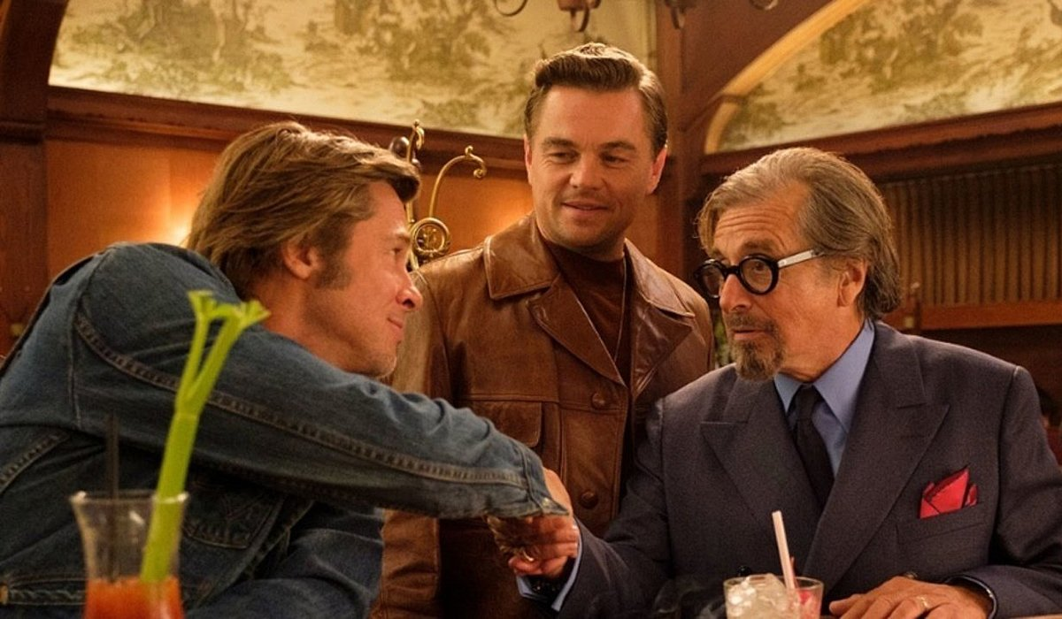 Brad Pitt shakes Al Pacino hand Leonardo DiCaprio Once Upon a Time in Hollywood