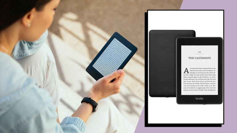 a woman holding a kindle and a kindle product image - how to reset a Kindle