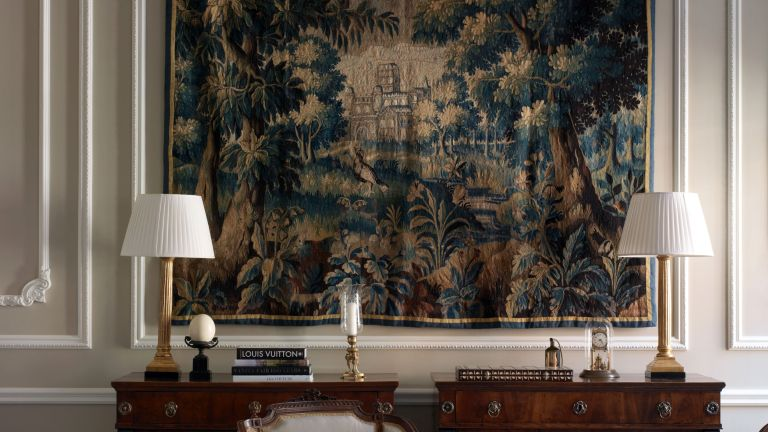 Tapestry in living room in Kensington, designed by Albion Nord