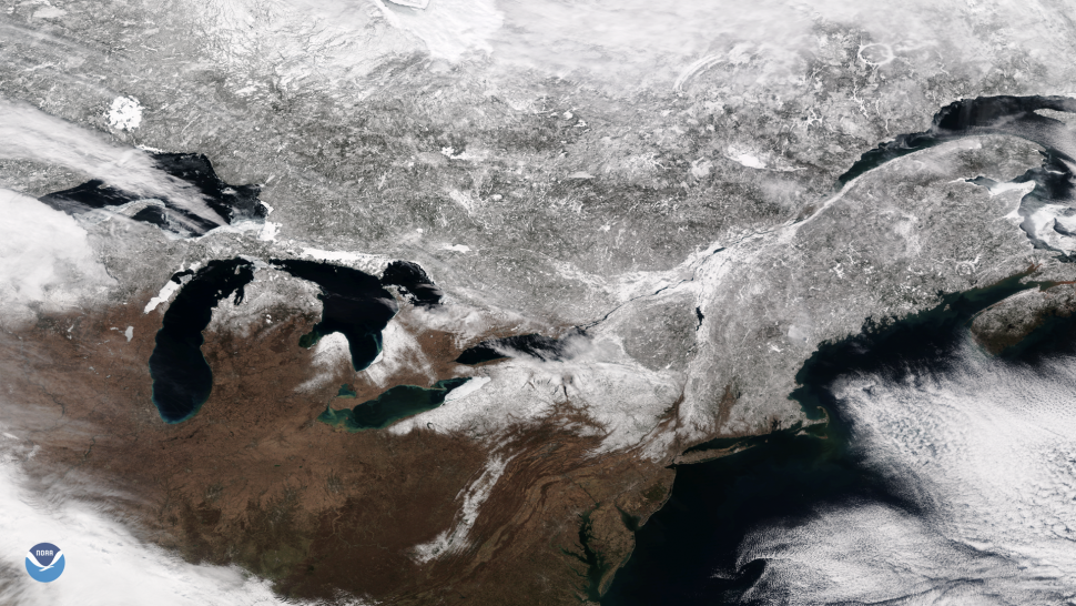 The Suomi NPP satellite took this image of the snow-covered northeastern United States and Canada on March 18, 2018. The image was created by combining the three color channels of the satellite's Visible Infrared Imaging Radiometer Suite (VIIRS) instrument.