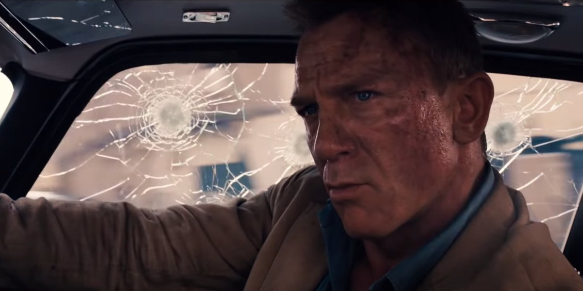 Daniel Craig drives a damaged DB5 in No Time To Die