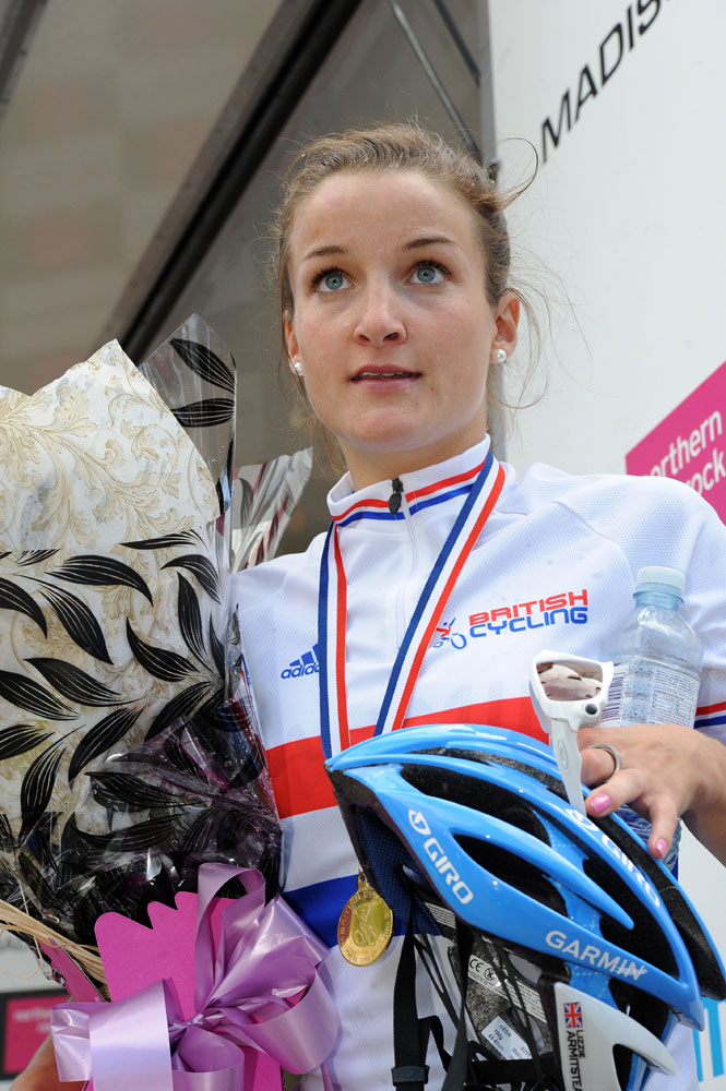 Lizzie Armitstead on podium, British road race national championships 2011
