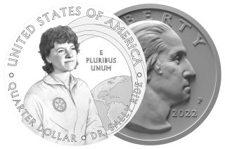 The obverse and reverse designs for the 2022 American Women quarter dollar coin honoring astronaut Sally Ride, as recommended by the U.S. Commission of Fine Arts (CFA) and Citizens Coinage Advisory Committee (CCAC).