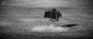 A still from a video produced by ISRO showing how its Vikram lander was meant to touch down on the moon on Sept. 6, 2019.