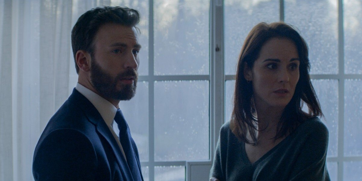 Chris Evans as Andy Barber and Michelle Dockery as Laurie Barber in Defending Jacob