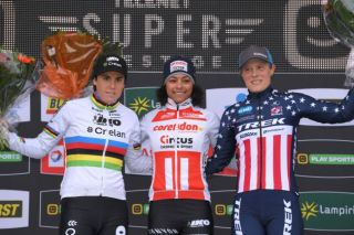Sanne Cant, Ceylin del Carmen Alvarado and Katie Compton on the podium after round 4 of the 2019 Superprestige series in Ruddervoorde, Belgium
