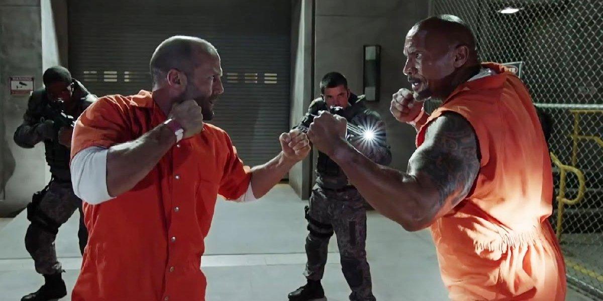 Jason Statham and Dwayne Johnson in Fast 8