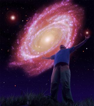 Artist's conception of the Milkomeda galaxy a trillion years from now.