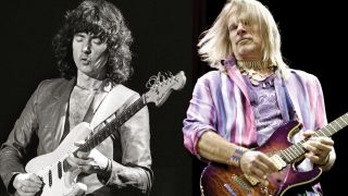 Close-up composite of guitarists Ritchie Blackmore and Steve Morse next to each other playing live