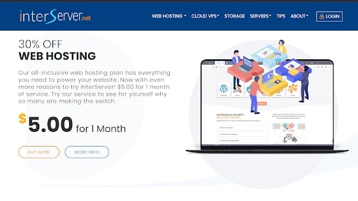 InterServer's homepage
