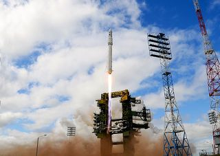 A Russian-built Angara medium-lift rocket launches on its maiden test flight from the Plesetsk Cosmodrome on July 9. 2014.