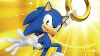 Sonic holds one of his coveted golden rings