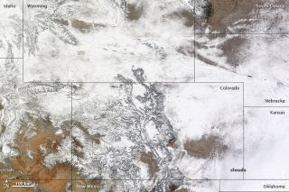 This image, captured by NASA's Terra satellite on Feb. 25, shows the record-setting snowfall from space.