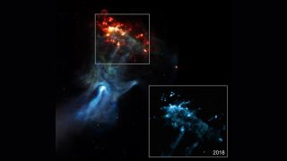NASA's Chandra X-ray Observatory captured this imagery of a huge, hand-shaped feature, which was spawned by a supernova explosion and its aftermath in a patch of space about 17,000 light-years from Earth.