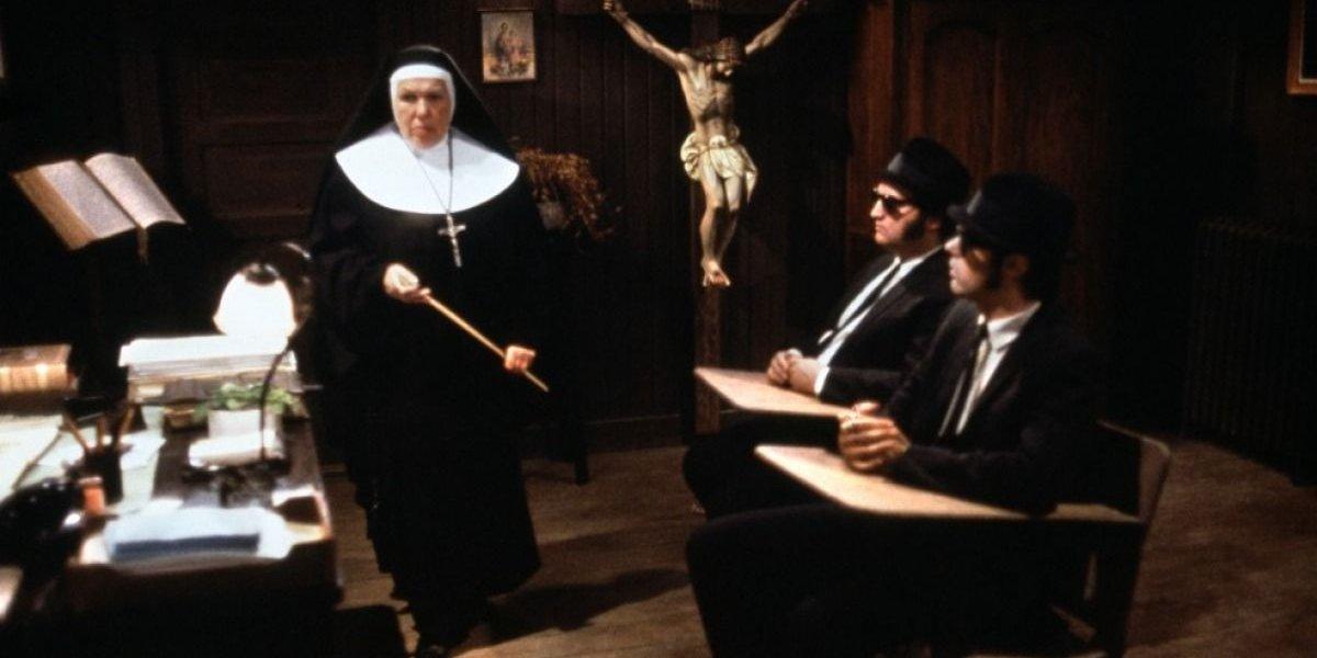 Kathleen Freeman, John Belushi, and Dan Aykroyd in The Blues Brothers