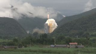 A Chinese Long March 3B rocket launches the final Beidou navigation satellite into orbit from the Xichang Satellite Launch Center in southwest China on June 23, 2020.