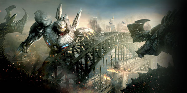 A Jaeger fighting several Kaiju in Pacific Rim