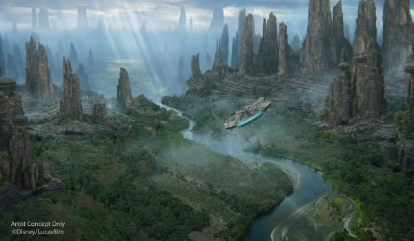 Concept Art of landscape with Millennium Falcon flying