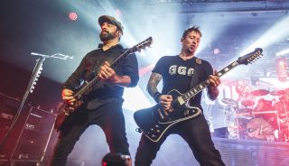 (from left) Rob Caggiano and Michael Poulsen of Volbeat perform on stage at Sala La Riviera on October 09, 2019 in Madrid, Spain