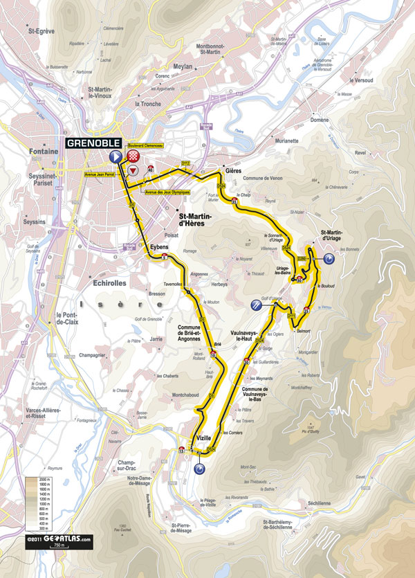 Stage 20 map, Tour de France 2011