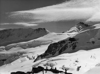 The mountain range bordering the Jungfrau Glacier in Switzerland, as viewed from the Jungfraujoch.