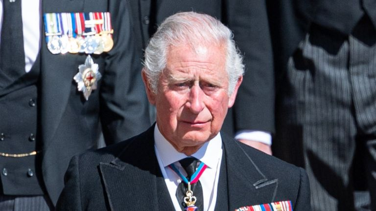 Prince Charles, Prince of Wales during the funeral of Prince Philip, Duke of Edinburgh on April 17, 2021 in Windsor