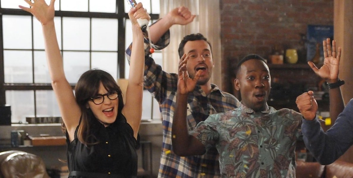 Zooey Deschanel, Jake Johnson and Lamorne Morris as Jess, Nick and Winston in New Girl