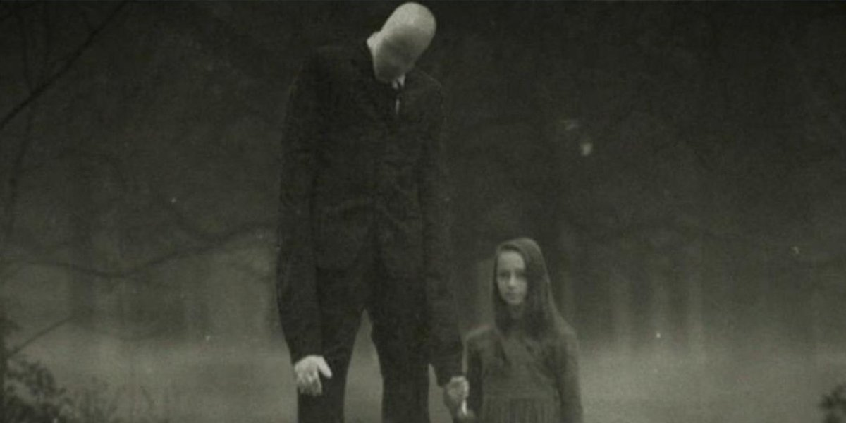A depiction of the slenderman and a little girl in Beware the Slenderman