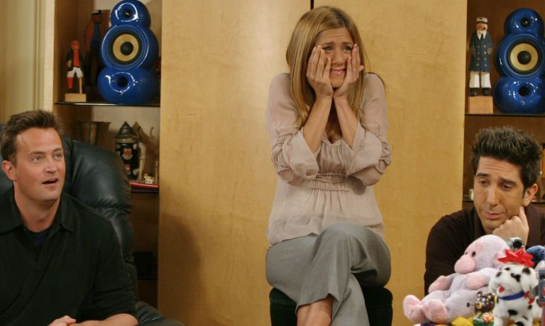 """How to watch Friends online:Jennifer Aniston, and David Schwimmer, cast members of the hit NBC series """"Friends,"""" react during a scene on one of their last shows on the Warner Bros lot Sept. 12, 2003 in Burbank, CA."""