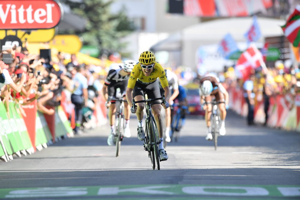 1b8dd4666 Geraint Thomas sprints towards victory on Alpe d Huez on stage 11 of the  Tour de France 2018 (Sunada)