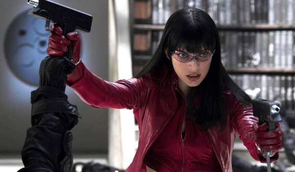 Ultraviolet Milla Jovovich battling in red leather