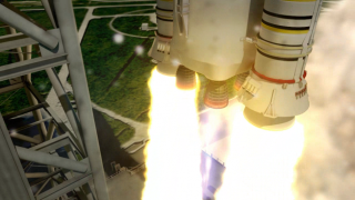Artist rendering of the RS-25 engines and boosters powering the liftoff of the 70-metric-ton (77-ton) lift capacity configuration SLS from the pad.