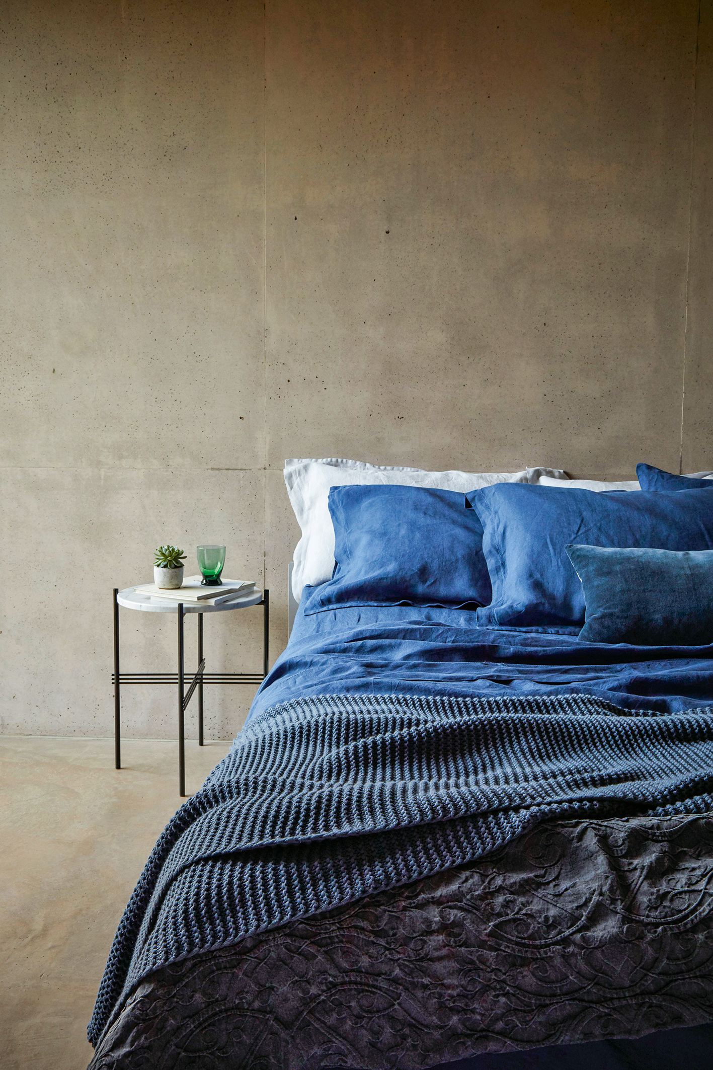 Trending stonewashed 100 linen bedding oslo throw 65 and vintage washed belgian linen denim double duvet cover 140 both from christy publicscrutiny Image collections
