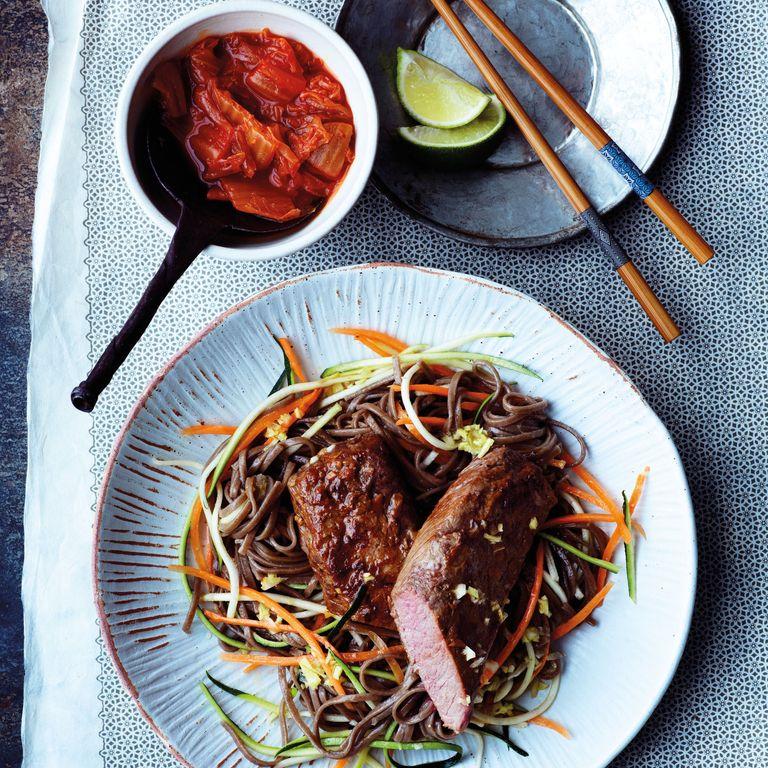 Cannon Of Lamb With Veg Soba Noodles & Kimchi