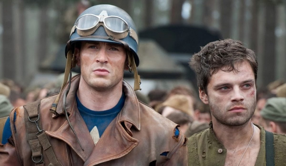 Captain America: The First Avenger Cap and Bucky standing in the woods