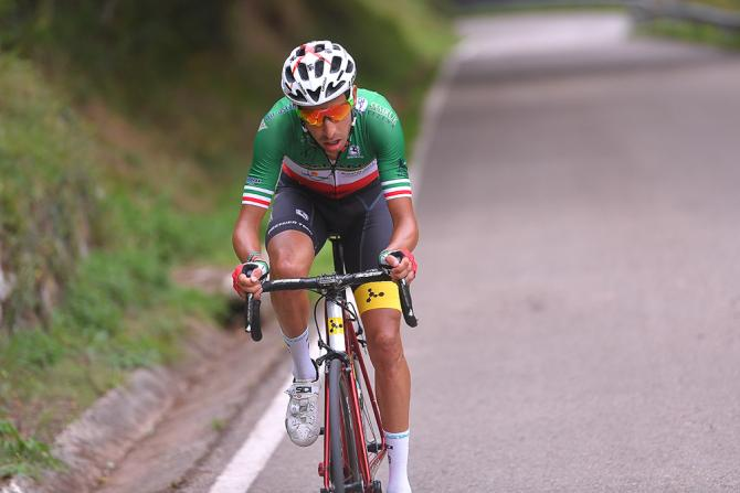 Fabio Aru on the attack during stage 18 at the Vuelta