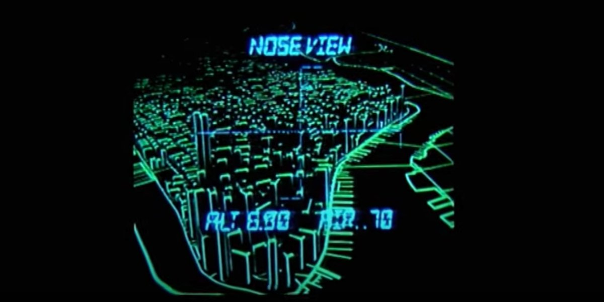 """The """"computer image"""" of the glider's path in Escape From New York"""