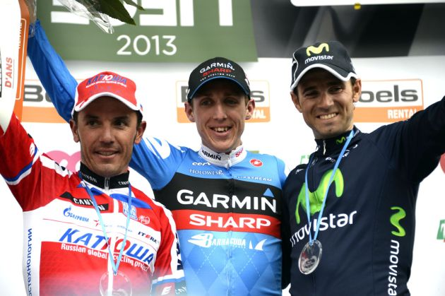 Daniel Martin (centre), Joaquim Rodriguez (left) and Alejandro Valverde (right) on podium, Liege-Bastogne-Liege 2013