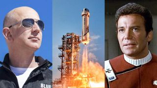 """A collage shows Blue Origin founder Jeff Bezos, the company's suborbital New Shepard launch system and actor William Shatner as Captain James T. Kirk in """"Star Trek."""""""