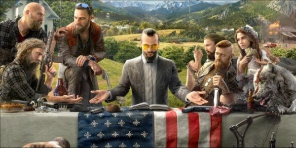 A group of cultists sit at a table in Far Cry 5.