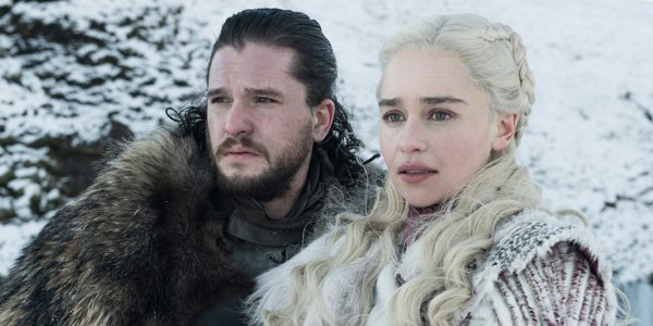 Dany and Jon Snow in white and black 2019
