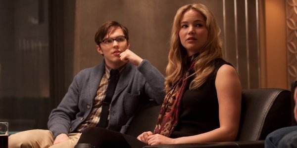 Nicholas Hoult as Hank / Beast and Jennifer Lawrence as Mystique / Raven in X-Men: First Class