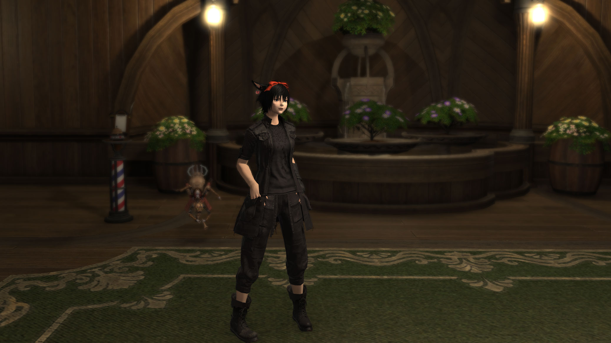 Final Fantasy XIV Jackie's warrior of light wearing Noctis' outfit and hairstyle